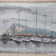Arte: ACUARELA SOBRE PAPEL. VILAGRAN. 1980. PUERTO. 40X30CM. Lote 294131158