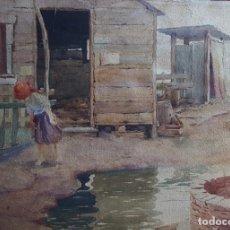 Arte: ALBINO LUCA (1884-1952) PINTOR ITALIANO. ACUARELA S/PAPEL PEGADO A CARTÓN.. Lote 294502153