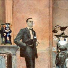 Arte: JOSE FRANCES AGRAMUNT (1868 - 1951) ACUARELA SOBRE PAPEL DEL AÑO 1921. INTERIOR CON PERSONAJES. Lote 295399403