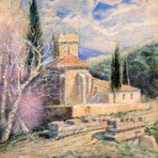 Arte: JOAN VILA CINCA (SABADELL, 1856 - 1938) ACUARELA PAPEL. VISTA DE UNA ERMITA. Lote 295423038