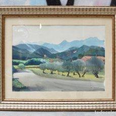 Arte: FREDERIC LLOVERAS, PUEBLO CON MONTAÑAS, ACUARELA, 1977, FIRMADA, CON MARCO. 50X36CM. Lote 295426133