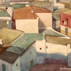 Arte: JOAN LLEO SANCHEZ (1926 - 2007) ACUARELA PAPEL. VISTA DE IBIZA. Lote 296569188