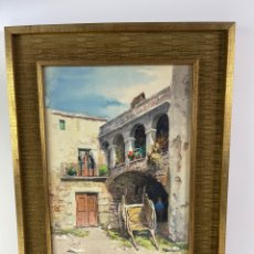 Arte: C-1050. ACUARELA SOBRE PAPEL. CALLE DE PUEBLO. TORRIELLA. S.XX.. Lote 297045513