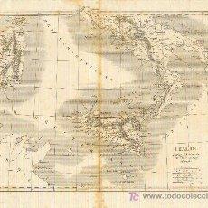 Arte: ANTIGUO MAPA DEL SUR DE ITALIA CERDEÑA Y SICILIA MIDE 21 CTMS. POR 26 CTMS. TH. DUVOTENAY. Lote 146365717