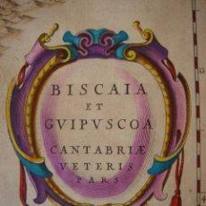 Arte: MAPA DE VIZCAYA,GUIPUZCOA Y CANTABRIA, BLAEU 1635.SENSACIONAL COLOREADO Y ESTADO, GRAN TAMAÑO. Lote 26336827