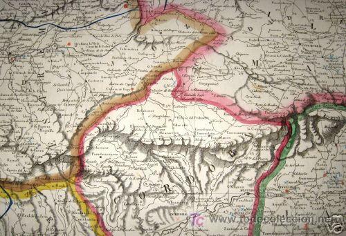 Arte: 1839 - ESPAÑA - Enorme Mapa Iluminado a Mano 16 metros - FORES Y ALABERN - 16 Hojas - - Foto 6 - 10326932