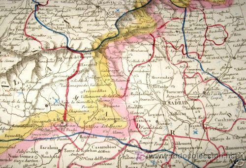 Arte: 1839 - ESPAÑA - Enorme Mapa Iluminado a Mano 16 metros - FORES Y ALABERN - 16 Hojas - - Foto 2 - 10326932