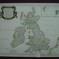 Arte: LES ISLES BRITANNICQUES. ROYAUME D'ANGLATERRE, ESCOSSE, IRLANDE. N SANSON. PARÍS, 1665 60 X 47 CM. . Lote 12498577