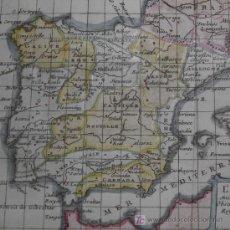Arte: MAPA DE ESPAÑA Y PORTUGAL DE BUFFIER, 1749. Lote 12378782