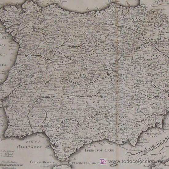 MAPA DE ESPAÑA Y PORTUGAL DE MERIAN, 1717 (Arte - Cartografía Antigua (hasta S. XIX))