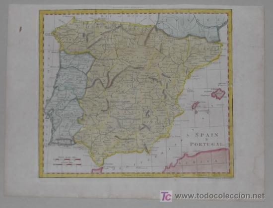 Arte: Mapa de España y Portugal de Guthrie, 1795 - Foto 2 - 12344243