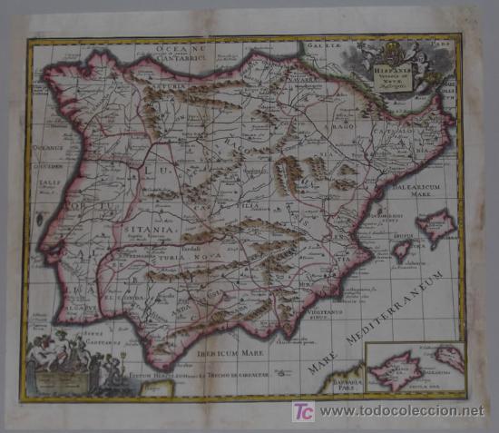Arte: Mapa de España y Portugal de Bruzen, 1739 - Foto 2 - 12378567