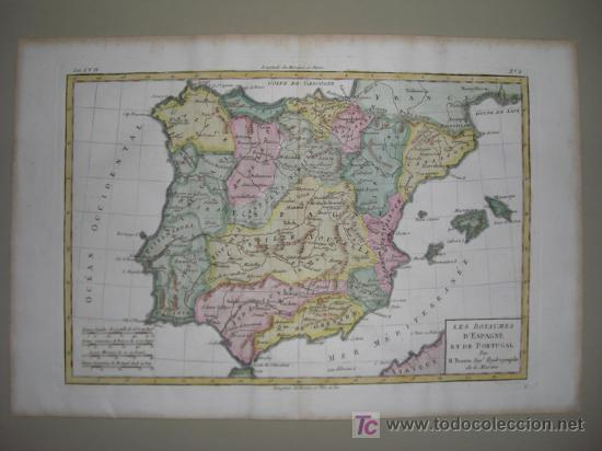 Arte: Mapa de España y Portugal de Bonne, 1795 - Foto 2 - 12379178