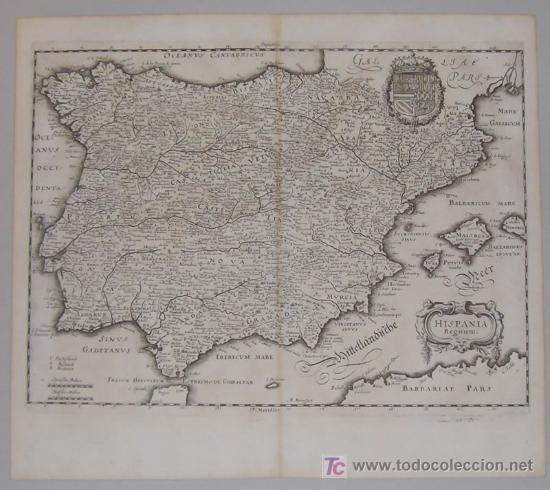 Arte: Mapa de España y Portugal de Merian, 1717 - Foto 2 - 12415212