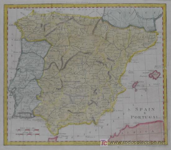 Arte: Mapa de España y Portugal de Guthrie, 1795 - Foto 3 - 12344243