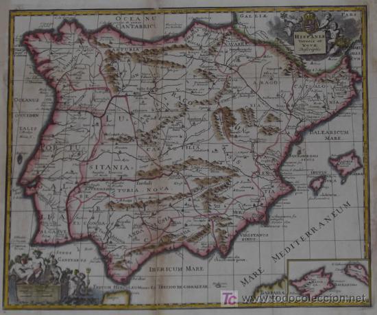 Arte: Mapa de España y Portugal de Bruzen, 1739 - Foto 3 - 12378567
