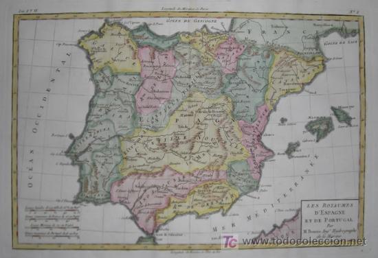 Arte: Mapa de España y Portugal de Bonne, 1795 - Foto 3 - 12379178