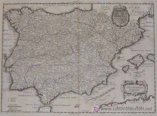 Arte: Mapa de España y Portugal de Merian, 1717 - Foto 3 - 12415212