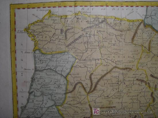 Arte: Mapa de España y Portugal de Guthrie, 1795 - Foto 4 - 12344243