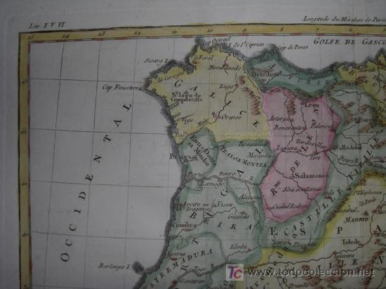 Arte: Mapa de España y Portugal de Bonne, 1795 - Foto 4 - 12379178