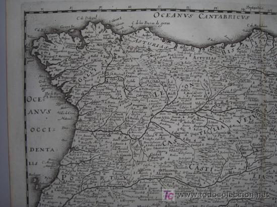 Arte: Mapa de España y Portugal de Merian, 1717 - Foto 4 - 12415212