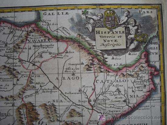 Arte: Mapa de España y Portugal de Bruzen, 1739 - Foto 5 - 12378567