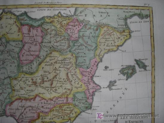 Arte: Mapa de España y Portugal de Bonne, 1795 - Foto 5 - 12379178