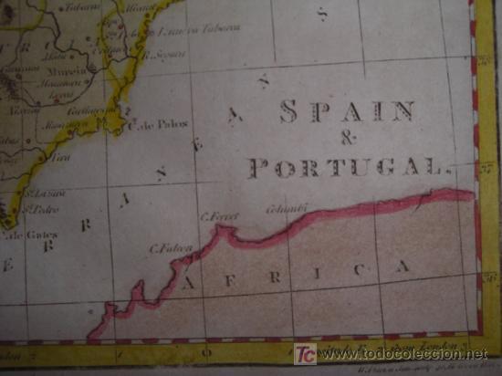 Arte: Mapa de España y Portugal de Guthrie, 1795 - Foto 6 - 12344243