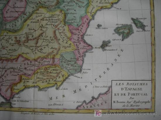 Arte: Mapa de España y Portugal de Bonne, 1795 - Foto 7 - 12379178