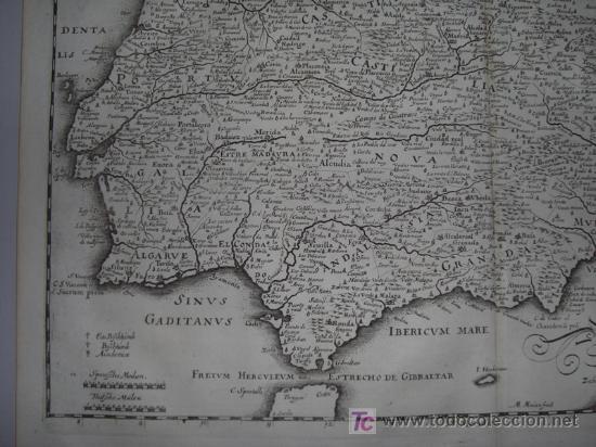 Arte: Mapa de España y Portugal de Merian, 1717 - Foto 6 - 12415212