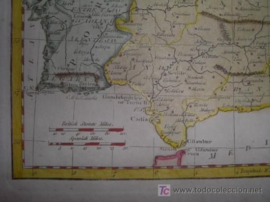 Arte: Mapa de España y Portugal de Guthrie, 1795 - Foto 7 - 12344243