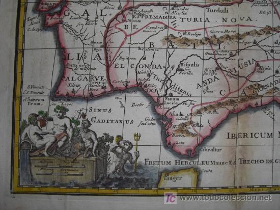 Arte: Mapa de España y Portugal de Bruzen, 1739 - Foto 6 - 12378567