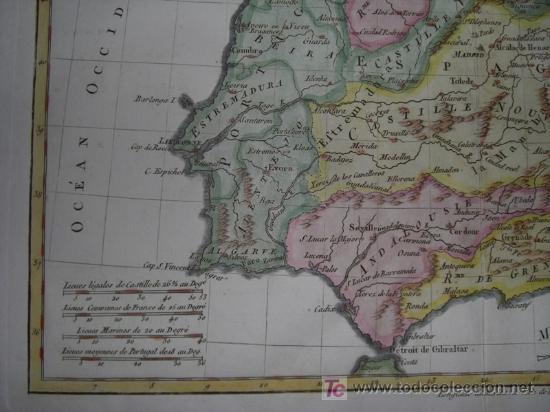 Arte: Mapa de España y Portugal de Bonne, 1795 - Foto 6 - 12379178