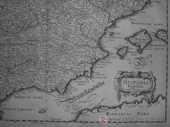 Arte: Mapa de España y Portugal de Merian, 1717 - Foto 7 - 12415212