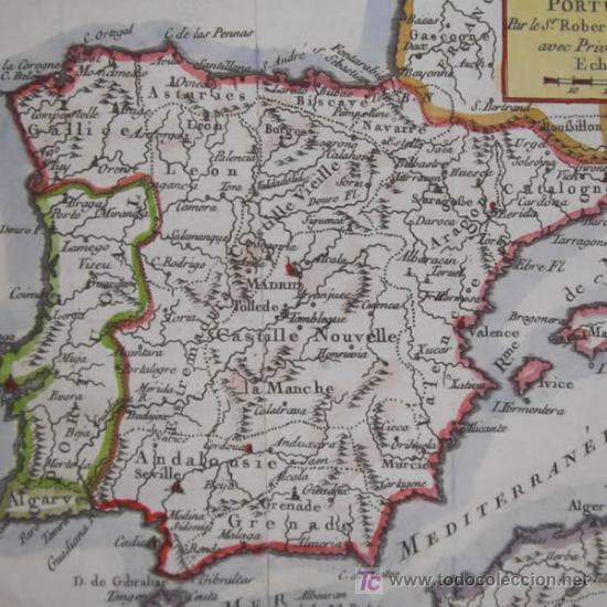 MAPA DE ESPAÑA Y PORTUGAL DE VAUGONDY, 1755 (Arte - Cartografía Antigua (hasta S. XIX))