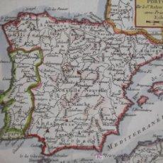 Arte: MAPA DE ESPAÑA Y PORTUGAL DE VAUGONDY, 1755. Lote 18577073
