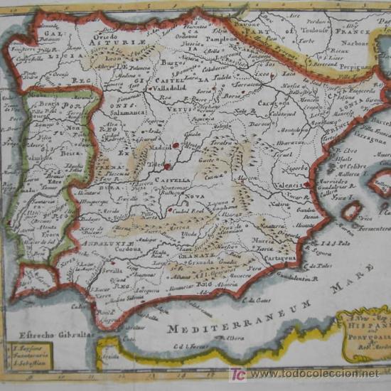 MAPA DE HISPANIA Y PORTUGALLIA DE MORDEN, 1700 (Arte - Cartografía Antigua (hasta S. XIX))