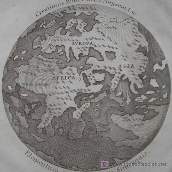 MAPA DEL MUNDO TITULADO SYSTEMA CREATIONIS MUNDI IUXTA MOYSEM. AUTOR ANÓNIMO,1789 (Arte - Cartografía Antigua (hasta S. XIX))