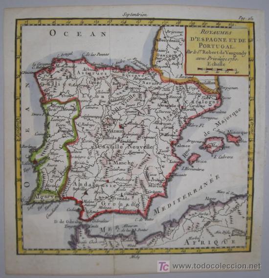 Arte: Mapa de España y Portugal de Vaugondy, 1755 - Foto 2 - 18577073