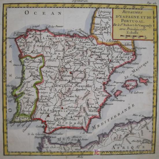 Arte: Mapa de España y Portugal de Vaugondy, 1755 - Foto 3 - 18577073
