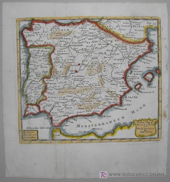 Arte: Mapa de Hispania y Portugallia de Morden, 1700 - Foto 2 - 18577126