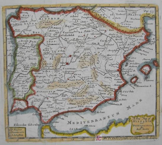 Arte: Mapa de Hispania y Portugallia de Morden, 1700 - Foto 3 - 18577126