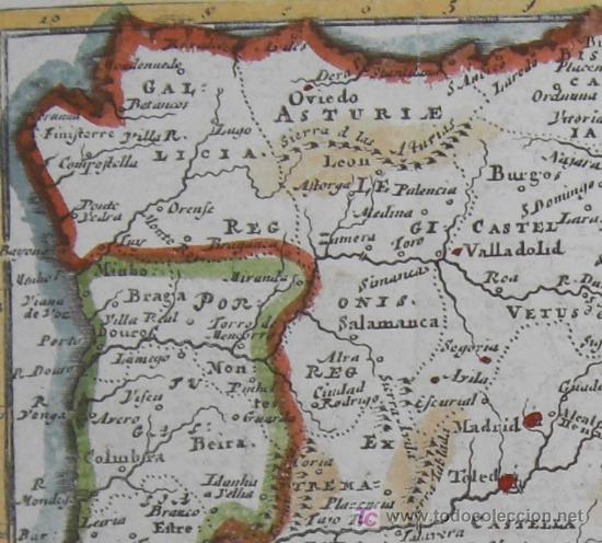 Arte: Mapa de Hispania y Portugallia de Morden, 1700 - Foto 4 - 18577126