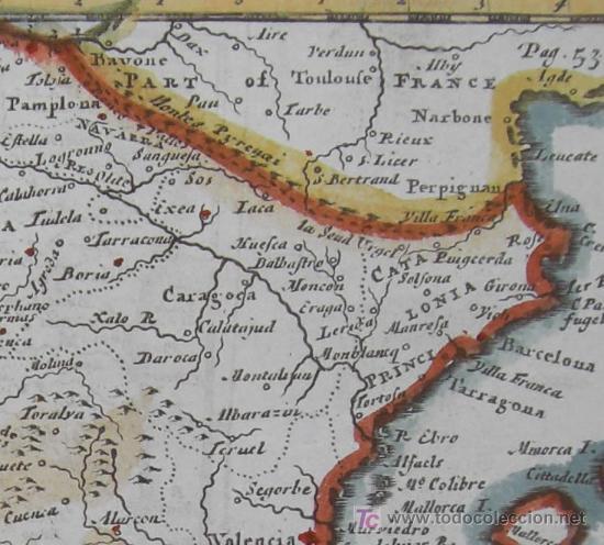 Arte: Mapa de Hispania y Portugallia de Morden, 1700 - Foto 5 - 18577126