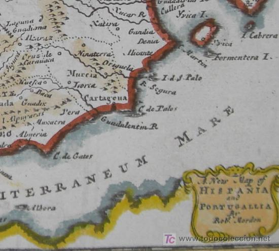 Arte: Mapa de Hispania y Portugallia de Morden, 1700 - Foto 7 - 18577126