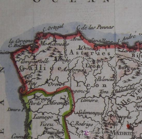 Arte: Mapa de España y Portugal de Vaugondy, 1755 - Foto 4 - 18577073
