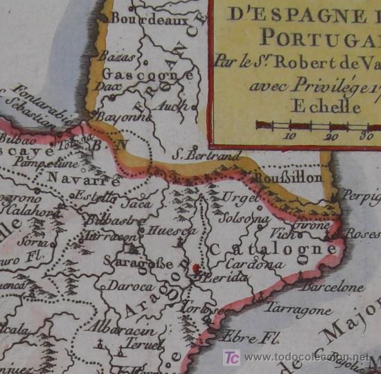 Arte: Mapa de España y Portugal de Vaugondy, 1755 - Foto 5 - 18577073