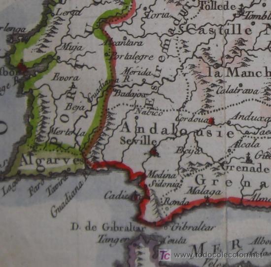 Arte: Mapa de España y Portugal de Vaugondy, 1755 - Foto 7 - 18577073