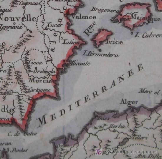 Arte: Mapa de España y Portugal de Vaugondy, 1755 - Foto 8 - 18577073