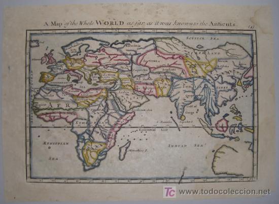Arte: Mapa del Mundo Antiguo de Moll, 1753 - Foto 2 - 18575864